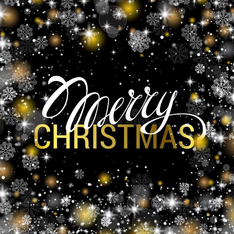 Χριστούγεννα που λάμπουν στο μαύρο υπόβαθρο με το λαμπρό χρυσό και το λευκό διανυσματική απεικόνιση