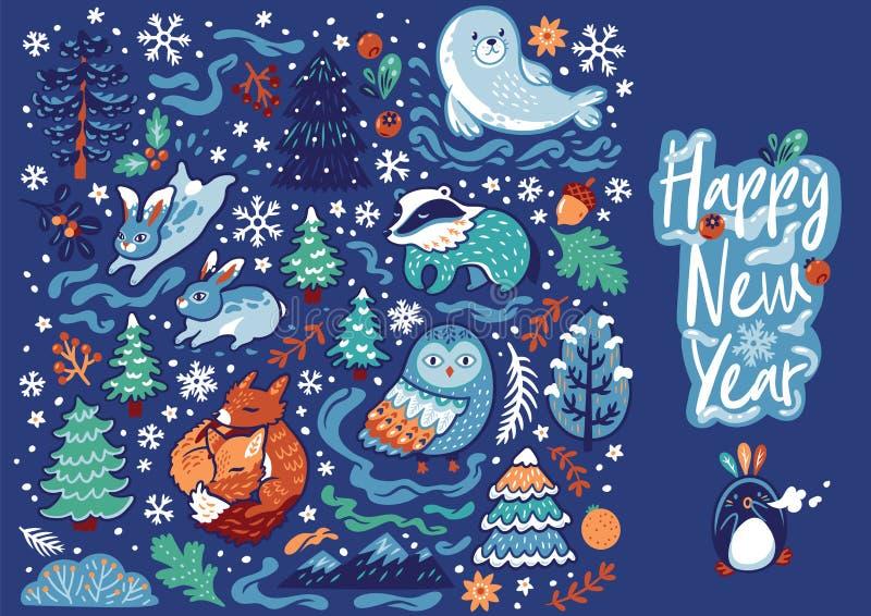 Χριστούγεννα που τίθενται με τα διακοσμητικά ζώα, την καλλιγραφία και τα δασικά στοιχεία επίσης corel σύρετε το διάνυσμα απεικόνι διανυσματική απεικόνιση