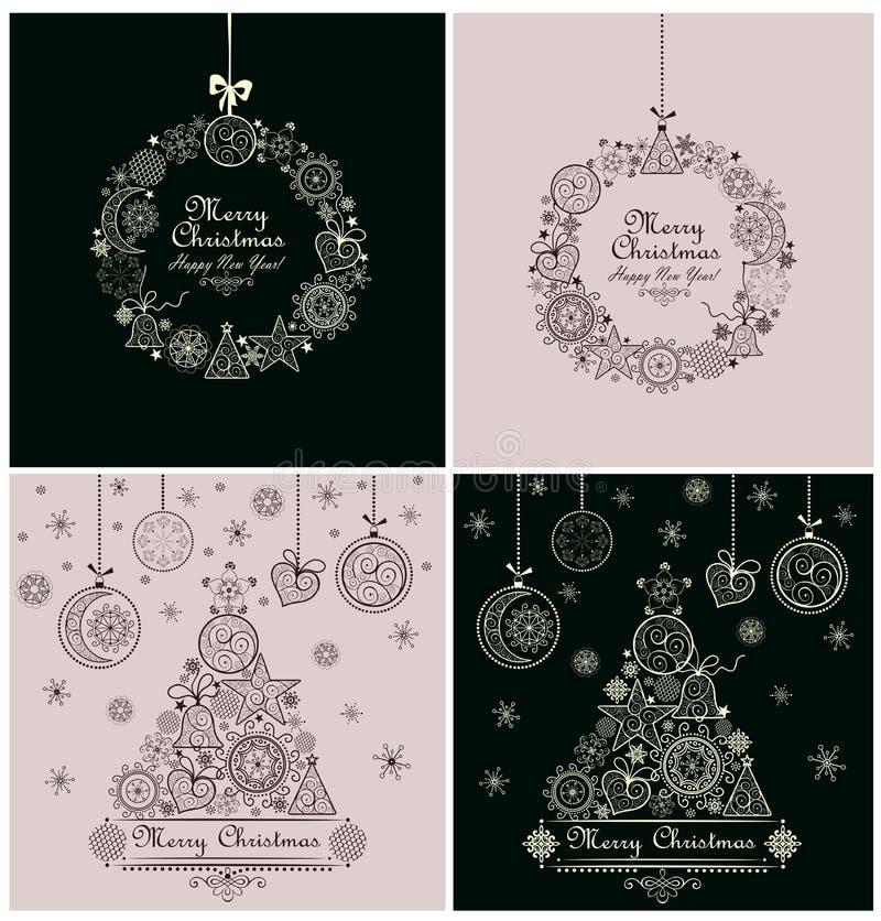 Χριστούγεννα που χαιρετούν τις αναδρομικές κάρτες ελεύθερη απεικόνιση δικαιώματος