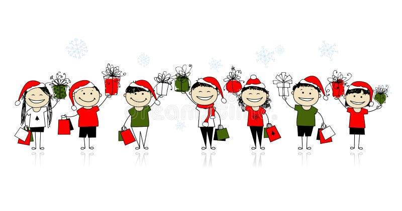 Χριστούγεννα που ψωνίζουν με τους φίλους διανυσματική απεικόνιση