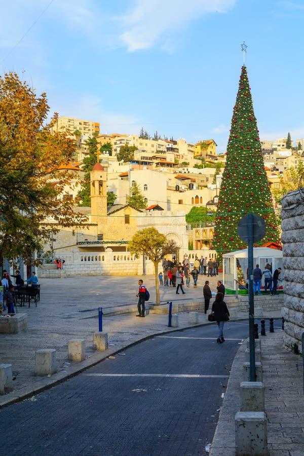 Χριστούγεννα στην πλατεία της Mary καλά, Ναζαρέτ στοκ φωτογραφίες