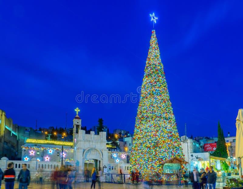 Χριστούγεννα στην πλατεία της Mary καλά, Ναζαρέτ στοκ φωτογραφίες με δικαίωμα ελεύθερης χρήσης