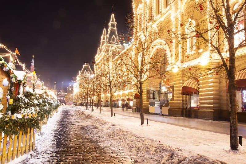 Χριστούγεννα στη Μόσχα, Ρωσία κόκκινο τετράγωνο Χριστούγεννα και νέος εορτασμός έτους στη νύχτα Μόσχα στοκ φωτογραφία με δικαίωμα ελεύθερης χρήσης
