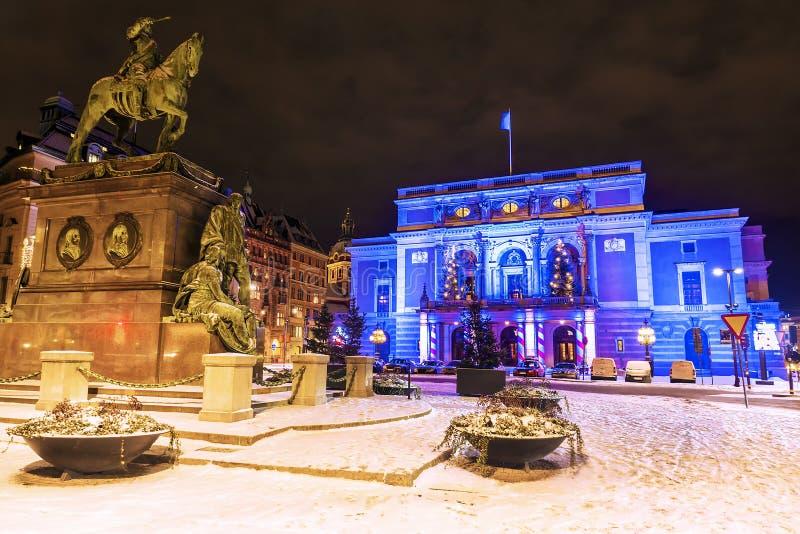 Χριστούγεννα στη Στοκχόλμη Βασιλική όπερα στη Στοκχόλμη, Σουηδία στοκ φωτογραφία με δικαίωμα ελεύθερης χρήσης