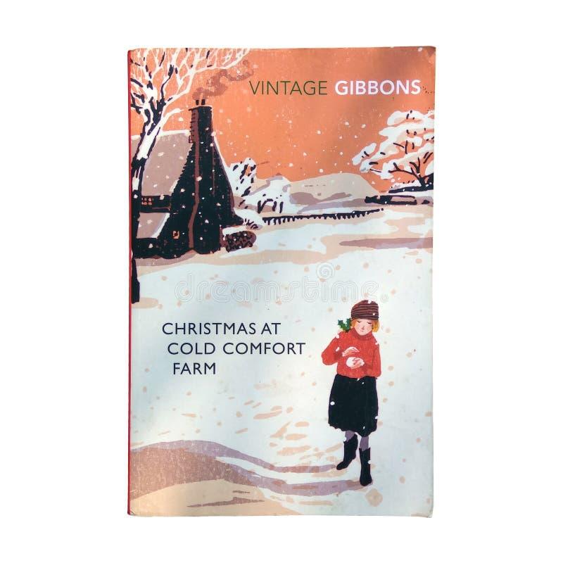 Χριστούγεννα στο κρύο αγρόκτημα άνεσης που απομονώνονται στο άσπρο υπόβαθρο στοκ εικόνα