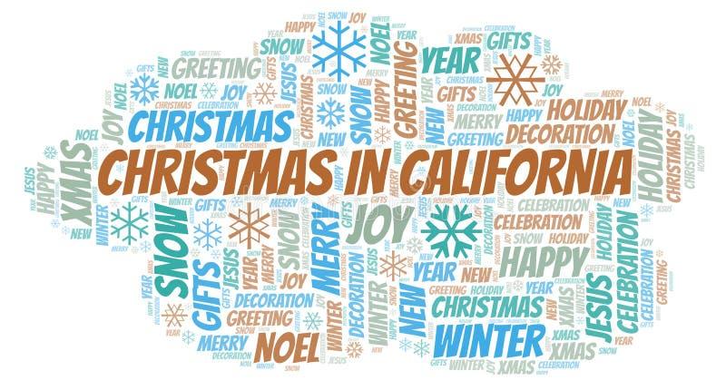 Χριστούγεννα στο σύννεφο λέξης Καλιφόρνιας διανυσματική απεικόνιση