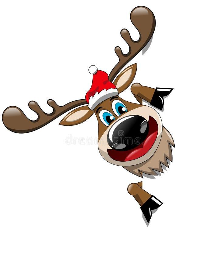 Χριστούγεννα ταράνδων που παρουσιάζουν το σημάδι πινάκων διαφημίσεων διανυσματική απεικόνιση