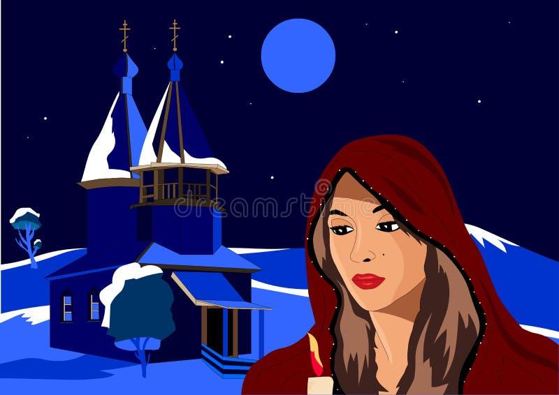 Χριστούγεννα, το κορίτσι στη χειμερινή εκμετάλλευση ένα κερί, στέκεται δίπλα στην εκκλησία διανυσματική απεικόνιση