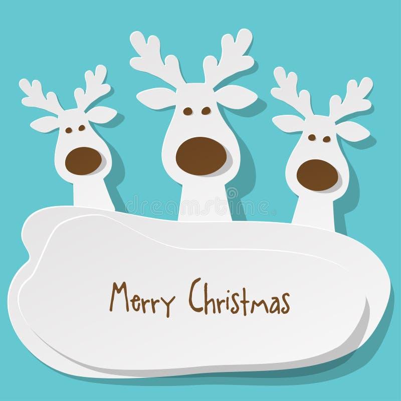 Χριστούγεννα τρία λευκό ταράνδων στο α στο τυρκουάζ υπόβαθρο ελεύθερη απεικόνιση δικαιώματος