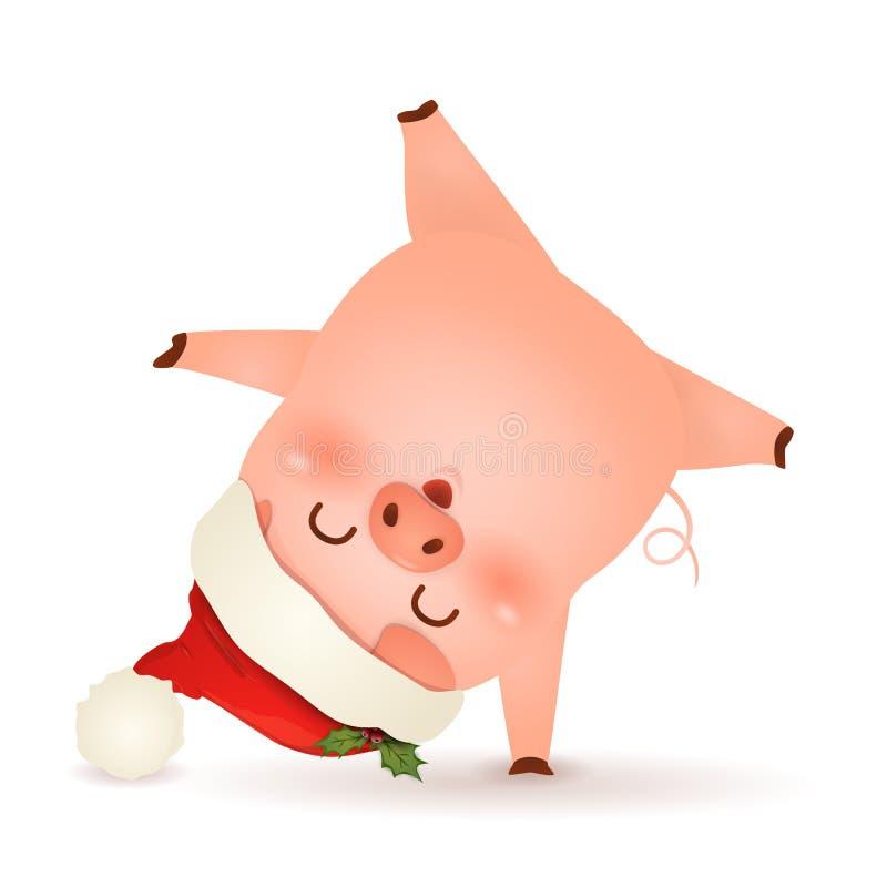 Χριστούγεννα χαριτωμένα, λίγο σχέδιο χαρακτήρα κινουμένων σχεδίων χοίρων με την κόκκινη στάση καπέλων Άγιου Βασίλη Χριστουγέννων  ελεύθερη απεικόνιση δικαιώματος