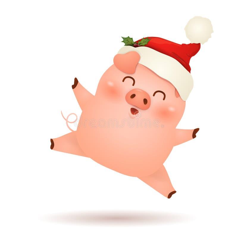 Χριστούγεννα χαριτωμένα, λίγο σχέδιο χαρακτήρα κινουμένων σχεδίων χοίρων με το κόκκινο συναίσθημα καπέλων Άγιου Βασίλη Χριστουγέν απεικόνιση αποθεμάτων