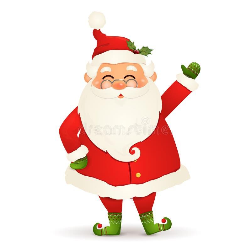 Χριστούγεννα χαριτωμένος, ευτυχής Άγιος Βασίλης με αυξημένο έναν δεξή και χαιρετισμός που απομονώνεται στο άσπρο υπόβαθρο Άγιος Β απεικόνιση αποθεμάτων