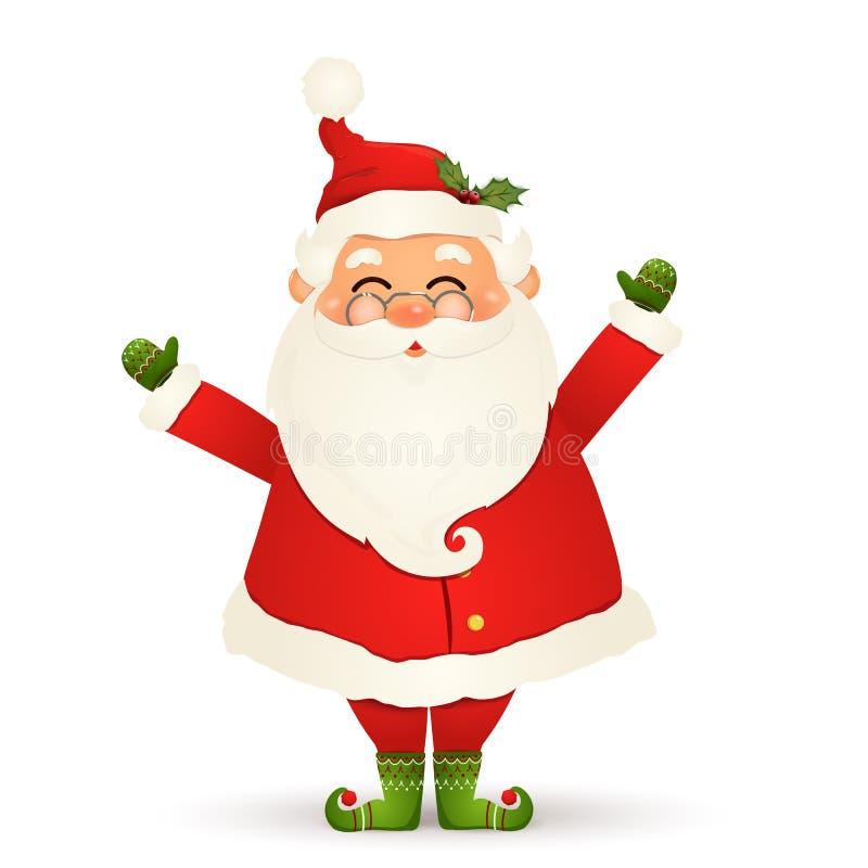 Χριστούγεννα χαριτωμένος, εύθυμος, αστείος Άγιος Βασίλης με τα γυαλιά, τα κυματίζοντας χέρια και το χαιρετισμό που απομονώνονται  διανυσματική απεικόνιση
