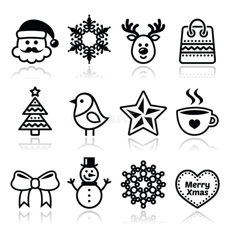 Χριστούγεννα, χειμερινά εικονίδια καθορισμένα - Άγιος Βασίλης, χιονάνθρωπος διανυσματική απεικόνιση