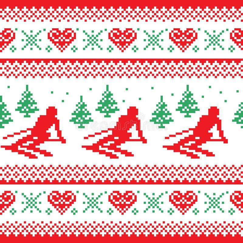 Χριστούγεννα, χειμερινό κόκκινο και πράσινο άνευ ραφής σχέδιο - άτομο που κάνει σκι στα βουνά απεικόνιση αποθεμάτων