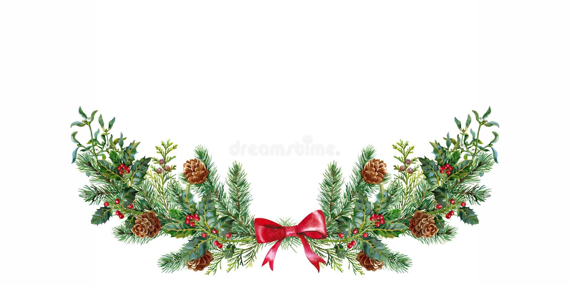 Χριστούγεννα boquet με το γκι και τις ερυθρελάτες watercolor απεικόνιση αποθεμάτων
