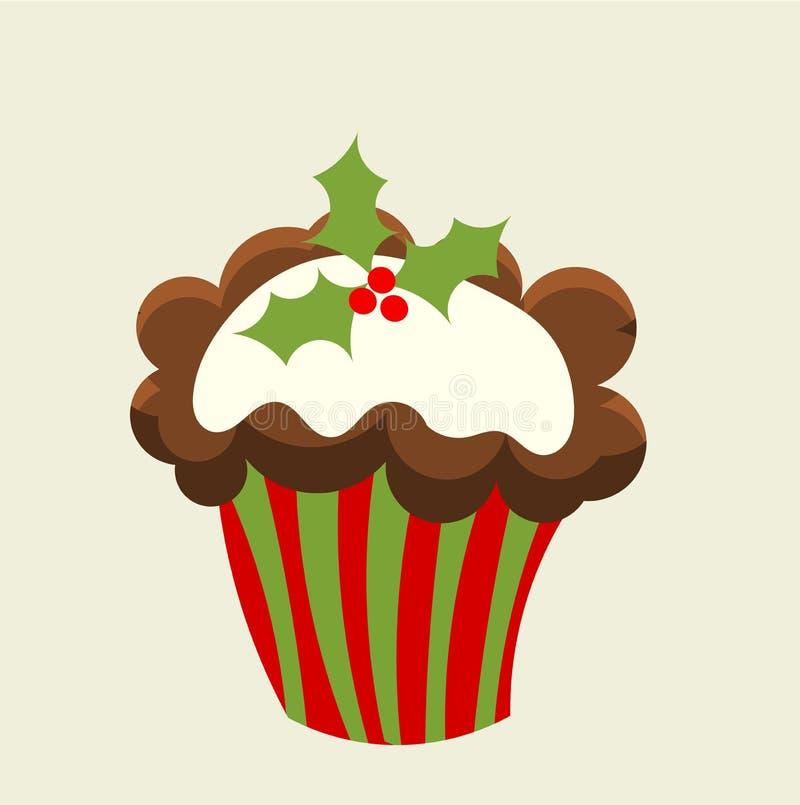 Χριστούγεννα cupcake διανυσματική απεικόνιση