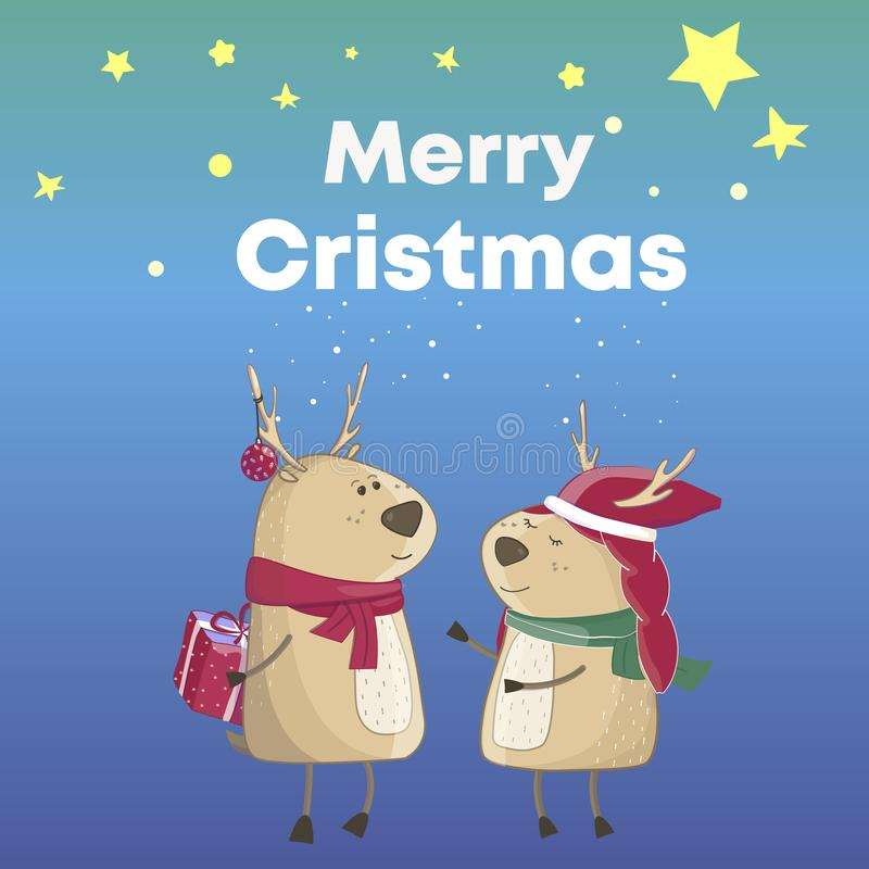 Χριστούγεννα Deers κινούμενων σχεδίων εύθυμο κείμενο Χριστο&upsilon Κιβώτιο βραβείων Αστείο και χαριτωμένο μπλε χρώμα υποβάθρου ζ ελεύθερη απεικόνιση δικαιώματος