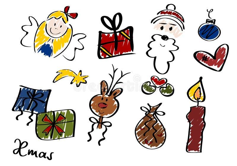 Χριστούγεννα doodles ΙΙ σύνολο διανυσματική απεικόνιση