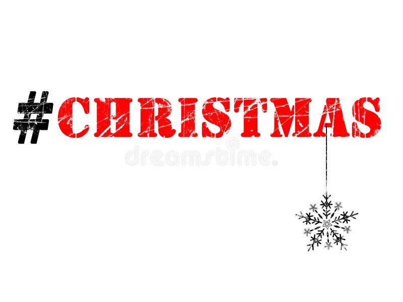 Χριστούγεννα hashtag και snowflake απεικόνιση στο άσπρο υπόβαθρο στοκ φωτογραφίες με δικαίωμα ελεύθερης χρήσης