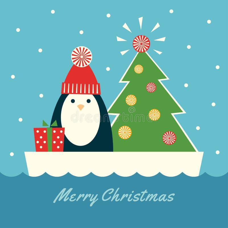 Χριστούγεννα penguin στο επιπλέον πάγο διανυσματική απεικόνιση