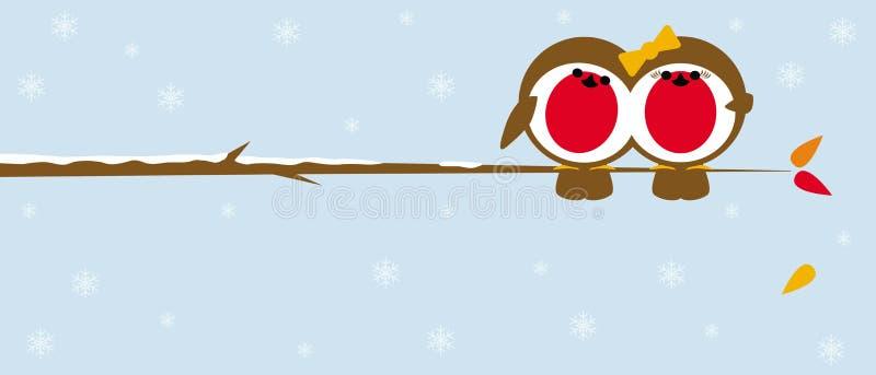Χριστούγεννα robins στον κλάδο διανυσματική απεικόνιση