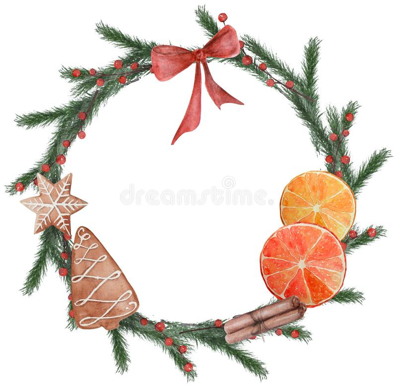 Χριστούγεννα Watercolor γύρω από το πλαίσιο των μπισκότων απεικόνιση αποθεμάτων
