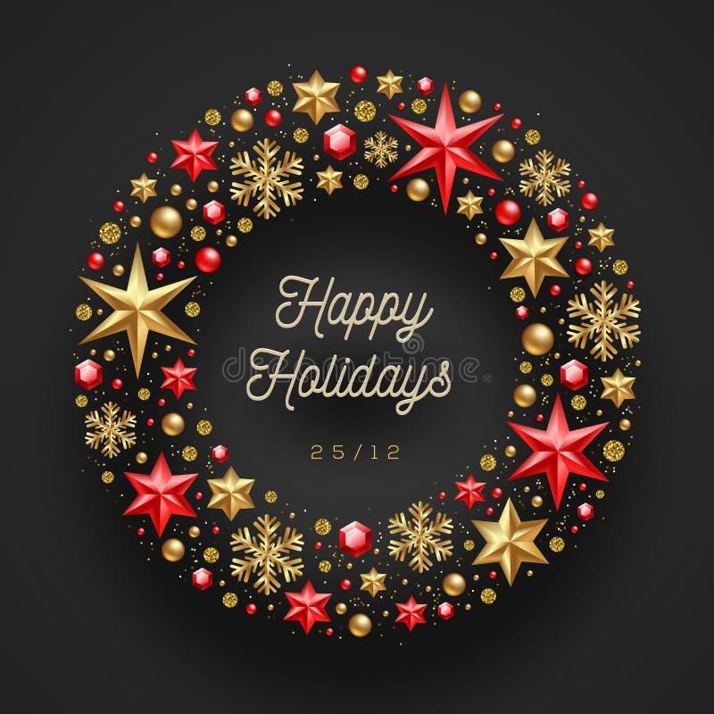 Χριστούγεννα wrearh που γίνονται από τα αστέρια, τους πολύτιμους λίθους και τις χάντρες διανυσματική απεικόνιση