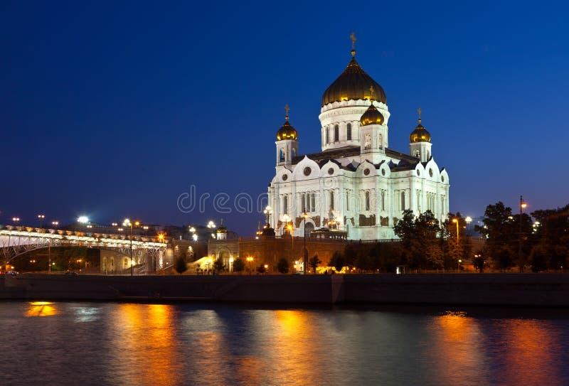 Χριστός ο καθεδρικός ναός Savior στη νύχτα, Ρωσία στοκ εικόνα