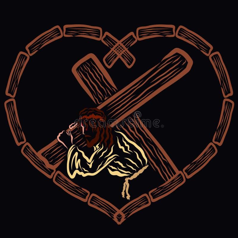 Χριστός που φέρνει το σταυρό σε μια ξύλινη καρδιά στοκ φωτογραφία με δικαίωμα ελεύθερης χρήσης