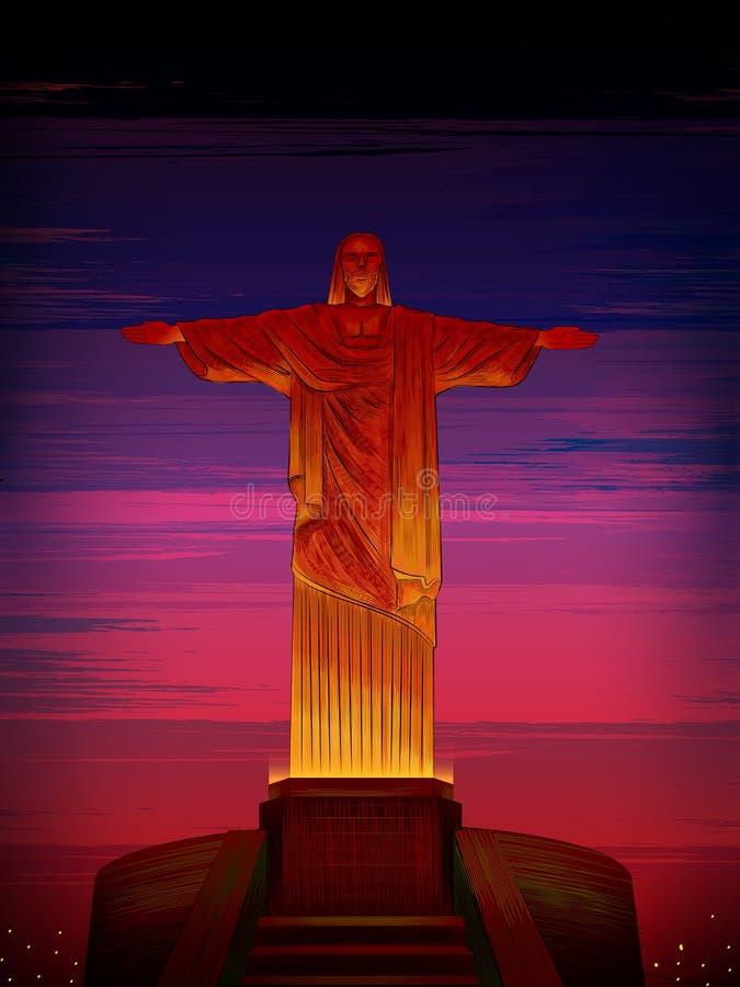 Χριστός το παγκοσμίως διάσημο ιστορικό μνημείο απελευθερωτών του Ρίο ντε Τζανέιρο, Βραζιλία διανυσματική απεικόνιση