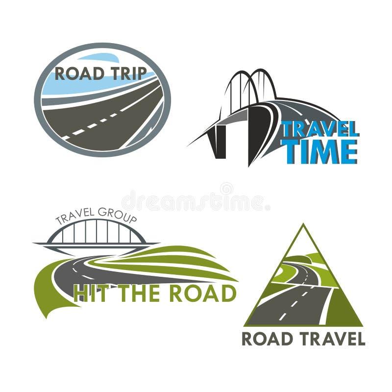 Χρονικά διανυσματικά εικονίδια οδικού ταξιδιού απεικόνιση αποθεμάτων