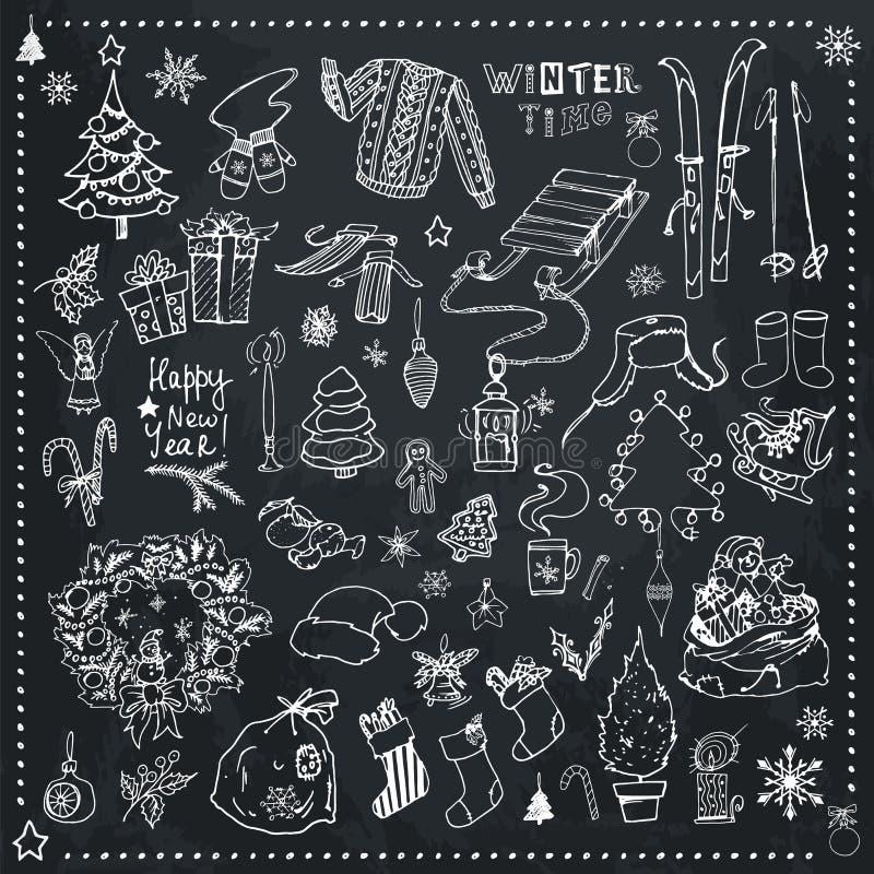 Χρονικά συρμένα χέρι διανυσματικά εικονίδια Χριστουγέννων διανυσματική απεικόνιση
