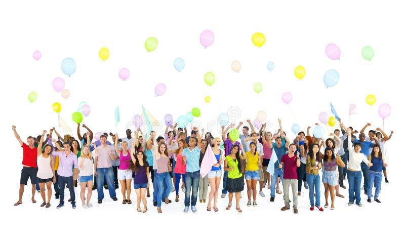 Χρονική έννοια κόμματος σπουδαστών ομάδας ποικιλομορφίας στοκ εικόνες με δικαίωμα ελεύθερης χρήσης