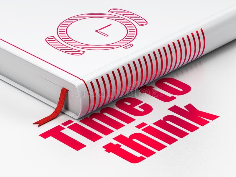 Χρονική έννοια: ρολόι χεριών βιβλίων, χρόνος να σκεφτεί στο άσπρο υπόβαθρο διανυσματική απεικόνιση