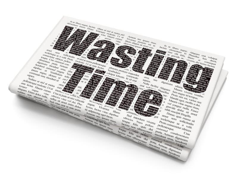 Χρονική έννοια: Σπατάλη του χρόνου στο υπόβαθρο εφημερίδων απεικόνιση αποθεμάτων