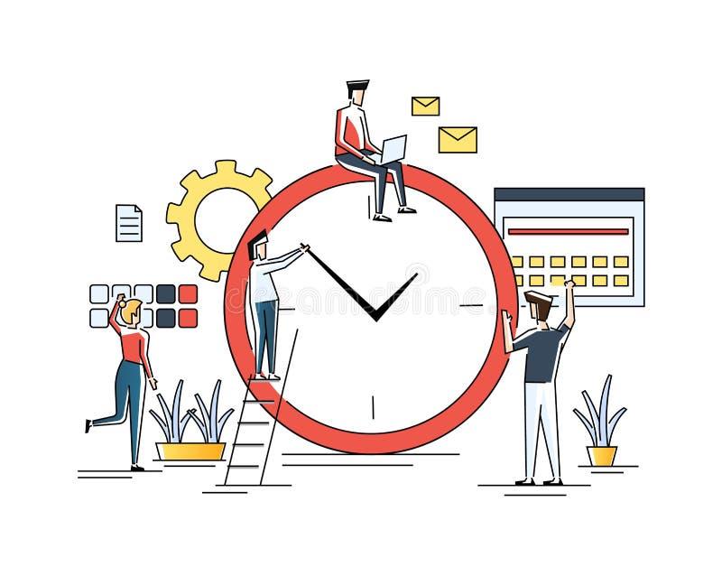 Χρονική διαχείριση, διανομή της προτεραιότητας των στόχων, στρατηγικός προγραμματισμός, οργάνωση του χρόνου απασχόλησης, διαχείρι διανυσματική απεικόνιση