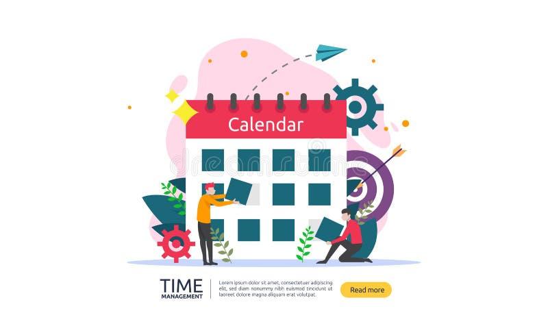 χρονική διαχείριση και έννοια αναβλητικότητας προγραμματισμός και στρατηγική για τις επιχειρησιακές λύσεις με το ρολόι, το ημερολ διανυσματική απεικόνιση