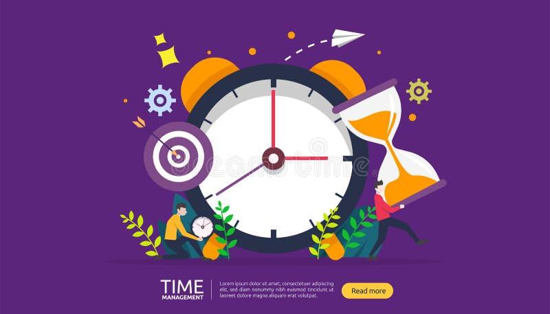 χρονική διαχείριση και έννοια αναβλητικότητας προγραμματισμός και στρατηγική για τις επιχειρησιακές λύσεις με το ρολόι, το ημερολ απεικόνιση αποθεμάτων