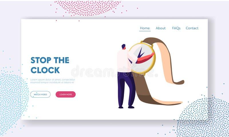 Χρονική διαχείριση και προσγειωμένος σελίδα ιστοχώρου αναβλητικότητας, μικροσκοπικό τεράστιο ρολόι εκμετάλλευσης ατόμων στα χέρια ελεύθερη απεικόνιση δικαιώματος
