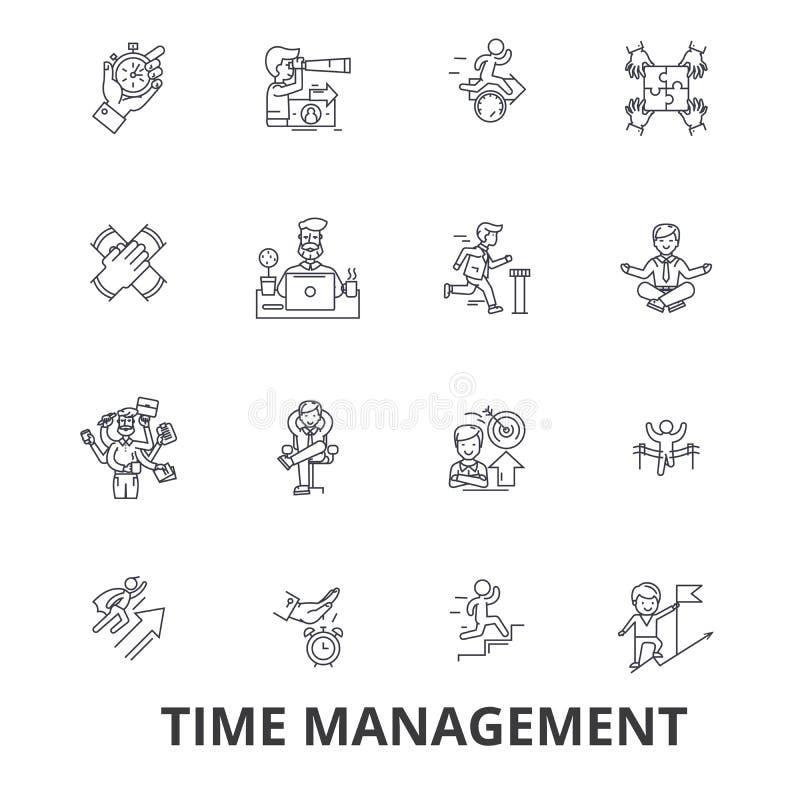 Χρονική διαχείριση, ρολόι, υπόδειξη ως προς το χρόνο, προγραμματισμός, πρόγραμμα, ημερολόγιο, εικονίδια γραμμών ηγεσίας Κτυπήματα διανυσματική απεικόνιση