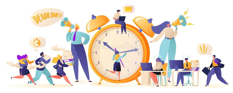 Χρονική διαχείριση στο δρόμο στην επιτυχία Εργαζόμενοι και επιχειρηματίες γραφείων που απασχολούνται στις υπερωρίες στην προθεσμί διανυσματική απεικόνιση