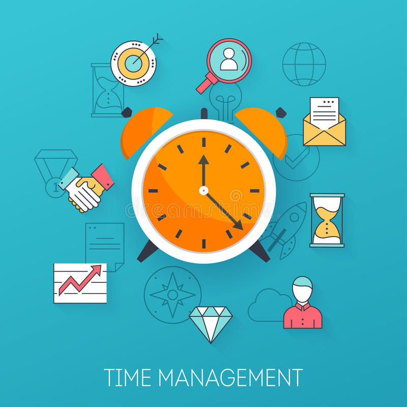 Χρονική διαχείριση Προγραμματισμός, χρονική οργάνωση της εργάσιμης ημέρας fla ελεύθερη απεικόνιση δικαιώματος