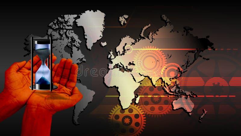 Χρονική ώρα παγκόσμιων κλεψυδρών που απομονώνεται με το υπόβαθρο τεχνολογίας στοκ εικόνες