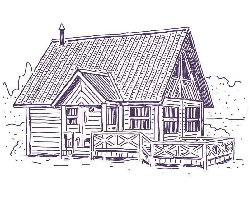 χρονικός άσπρος χειμώνας χιονιού βουνών εξοχικών σπιτιών ξύλινος διανυσματική απεικόνιση