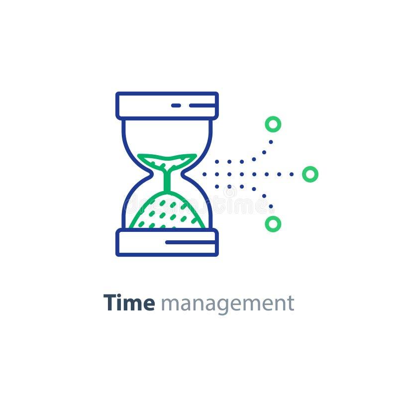 Χρονικός έλεγχος, εικονίδιο χρονικής διαχείρισης, έννοια παραγωγικότητας διανυσματική απεικόνιση