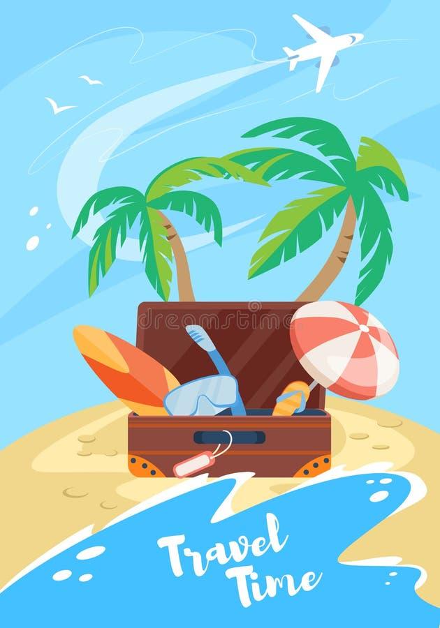 Χρονικό κάθετο έμβλημα ταξιδιού, διακοπές καλοκαιριού ελεύθερη απεικόνιση δικαιώματος