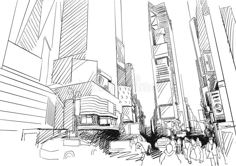 Χρονικό τετράγωνο, πόλη της Νέας Υόρκης Hand-drawn διανυσματικό σκίτσο περιλήψεων απεικόνιση αποθεμάτων