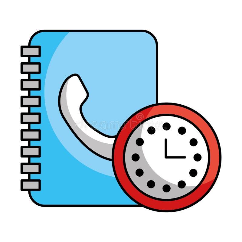 Χρονικό τηλεφωνικό κέντρο ρολογιών διευθύνσεων βιβλίων ελεύθερη απεικόνιση δικαιώματος