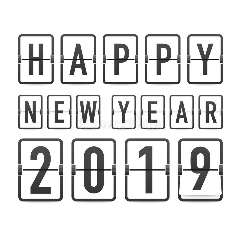 Χρονοδιάγραμμα καλής χρονιάς 2019, editable διανυσματικό σχέδιο επίσης corel σύρετε το διάνυσμα απεικόνισης ελεύθερη απεικόνιση δικαιώματος